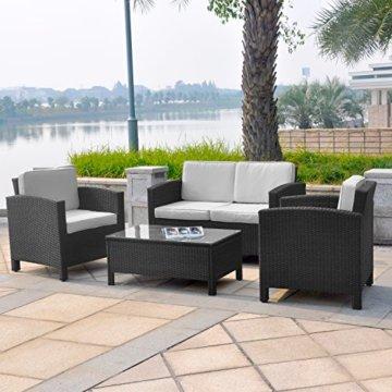 Gartenlounge rattan rund  ▷ lI❶Il 13tlg. Polyrattan Garten Lounge mit Tisch/polster und kissen