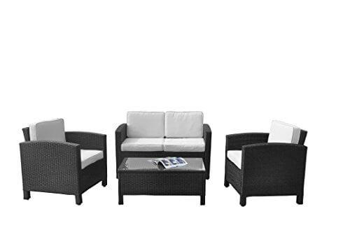 13tlg. Polyrattan Garten Lounge mit Tisch/polster und kissen