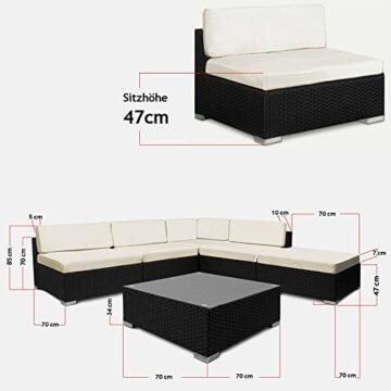 16tlg Polyrattan Lounge Set XXL Sitzkissen Sitzgarnitur Sitzgruppe