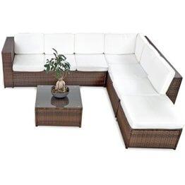 19tlg CCCL Polyrattan Garten Lounge Set handgeflochten mit Kissen