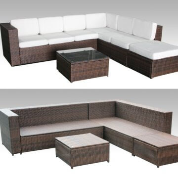 ▷ lI❶Il 19tlg CCCL Polyrattan Garten Lounge Set handgeflochten ...