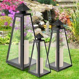 3er Set Gartenlaternen mit Glasfenster