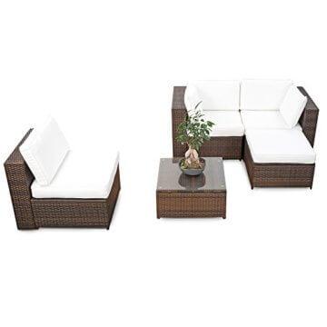 erweiterbares 15tlg. Balkon Polyrattan Lounge Ecke