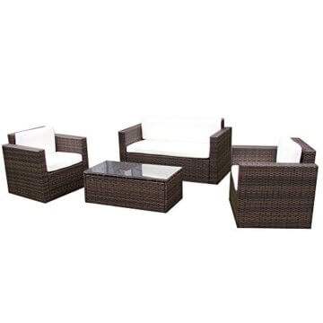 li il garten lounge set sitzmoebel cannes in braun rattan. Black Bedroom Furniture Sets. Home Design Ideas