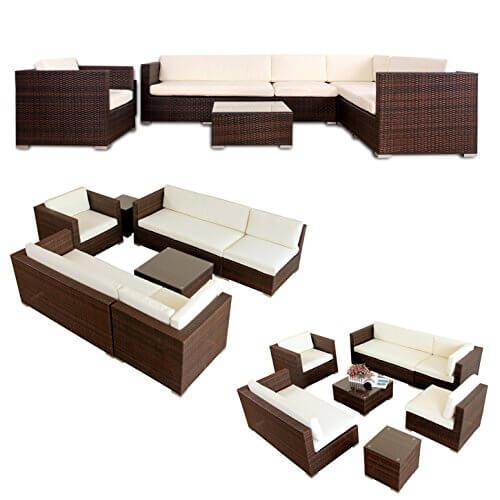 li il garten lounge napo polyrattan garten lounge alu braun. Black Bedroom Furniture Sets. Home Design Ideas