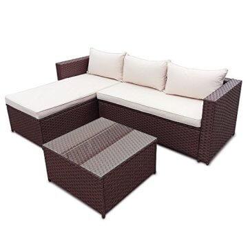 Polyrattan Corner Garten Lounge mit Tisch und Kissen