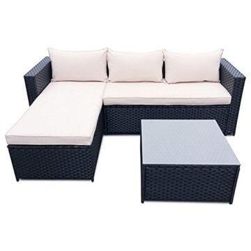 Polyrattan Corner Lounge mit Tisch und Kissen