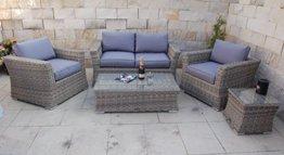 Polyrattan Garten Lounge mit Tisch und Kissen