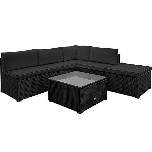 li il polyrattan garten lounge mit tisch und kissen schwarz. Black Bedroom Furniture Sets. Home Design Ideas