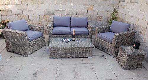 Li il polyrattan garten lounge mit tisch und kissen - Garten lounge tisch ...