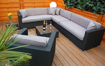 li il garten lounge polyrattan lounge mit tisch und polster. Black Bedroom Furniture Sets. Home Design Ideas