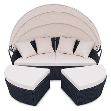 li il garten lounge polyrattan sunbed lounge rund in schwarz. Black Bedroom Furniture Sets. Home Design Ideas