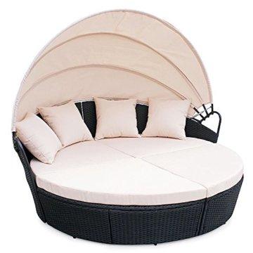 Lounge sofa rund  ▷ lI❶Il Garten Lounge - Polyrattan Sunbed Lounge rund in schwarz