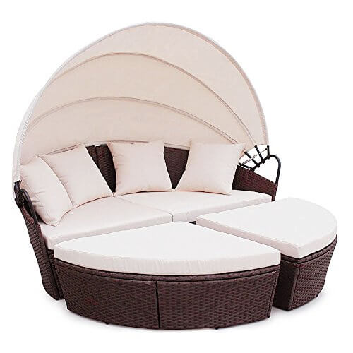 li il polyrattan sunbed lounge rund mit kissen und dach. Black Bedroom Furniture Sets. Home Design Ideas
