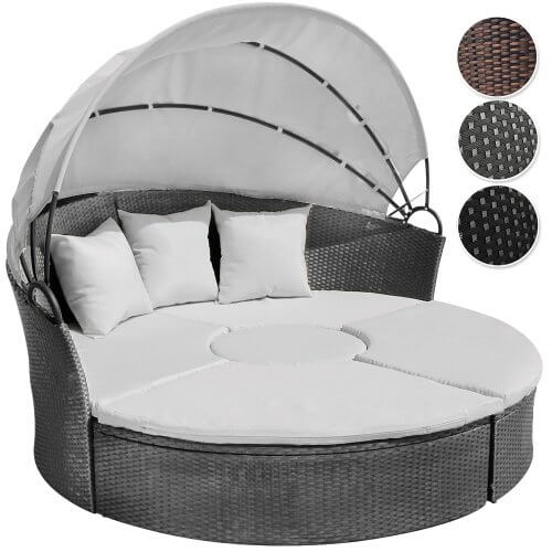 li il garten lounge runde polyrattan lounge sonneninsel mit dach. Black Bedroom Furniture Sets. Home Design Ideas