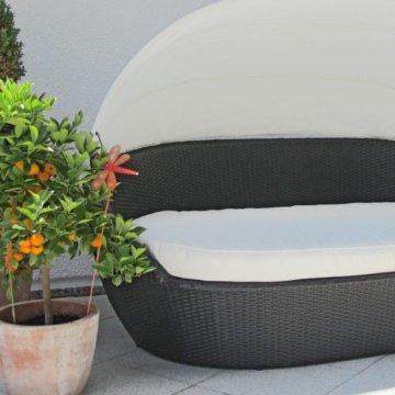 Sonneninsel Polyrattan Garten Loung rund mit 6 Kissen Alu gestell
