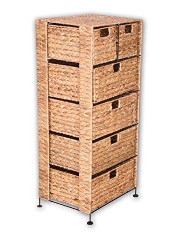 kmh gro e korb kommode mit 6 schubladen aus wasserhyazinthe garten. Black Bedroom Furniture Sets. Home Design Ideas