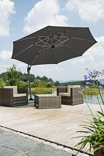 schneider sonnenschirm rhodos rondo anthrazit ca 350 cm. Black Bedroom Furniture Sets. Home Design Ideas