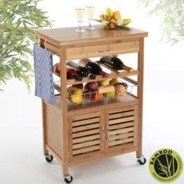 Torrex 39459 Küchentrolley aus Bambus 88 x 36 x 60 cm