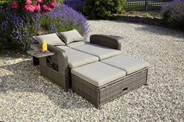 greemotion Bahia Rondo 3-in-1 braun bicolor, inkl. Auflagen in Sandfarben, Gartensofa mit zwei Ablagetabletts, 6-fach verstellbare Rückenlehne, Lounge aus witterungsbeständigem Poly-Rattan - 5