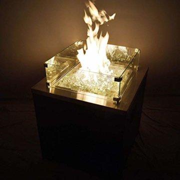 ACTIVA Gas Feuerstelle Gasfeuerstelle Asano Glas Flammenschutz Edelstahl Terrasse Garten Kamin Outdoor - 3