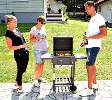 ACTIVA Grill Grillwagen Angular, Schwarz, Holzkohlegrill BBQ Barbecue, Holzkohle-Grill mit Deckel - 7