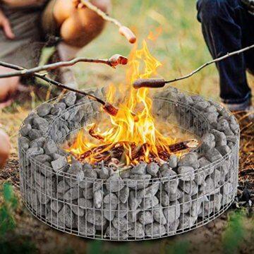 bellissa Gabionen-Lagerfeuerstelle - 95587 - Feuerstelle für Lagerfeuer - Durchmesser 73/51 cm, Höhe 21 cm - 3