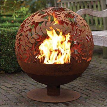 Esschert Design Feuerball in Blumen Optik, laser cut, 58 x 57 x 66 cm, Rost-Optik, aus Stahl, runde Gartendekoration, Feuerstelle mit Fuß - 2