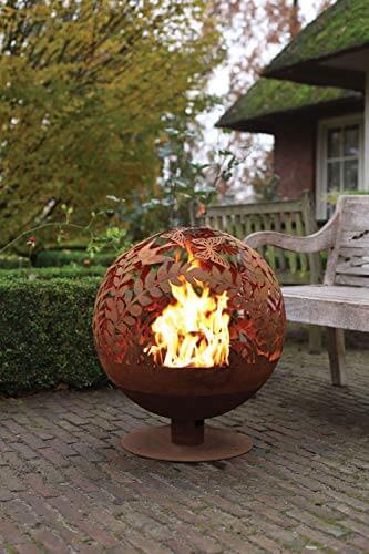 Esschert Design Feuerball in Blumen Optik, laser cut, 58 x 57 x 66 cm, Rost-Optik, aus Stahl, runde Gartendekoration, Feuerstelle mit Fuß - 3