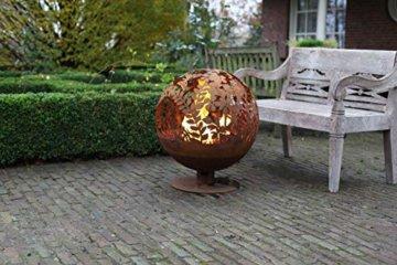 Esschert Design Feuerball in Blumen Optik, laser cut, 58 x 57 x 66 cm, Rost-Optik, aus Stahl, runde Gartendekoration, Feuerstelle mit Fuß - 4