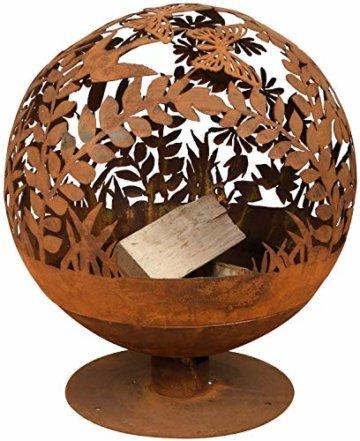 Esschert Design Feuerball in Blumen Optik, laser cut, 58 x 57 x 66 cm, Rost-Optik, aus Stahl, runde Gartendekoration, Feuerstelle mit Fuß - 1