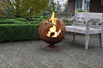 Esschert Design Feuerball in Blumen Optik, laser cut, 58 x 57 x 66 cm, Rost-Optik, aus Stahl, runde Gartendekoration, Feuerstelle mit Fuß - 5