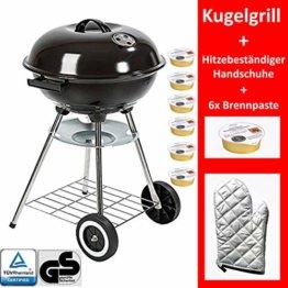 Grill-Holzkohle Kugelgrill Rundgrill groß mit Deckel Ø 41cm fahrbar dreibein mit Aschebehälter inkl. Brennpaste und Handschuh für Grillzange, Grillbesteck - 1
