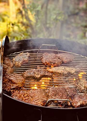 Grill-Holzkohle Kugelgrill Rundgrill groß mit Deckel Ø 41cm fahrbar dreibein mit Aschebehälter inkl. Brennpaste und Handschuh für Grillzange, Grillbesteck - 8