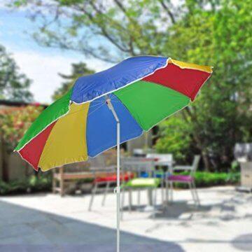 HI Sonnenschirm 180cm Strandschirm Balkonschirm Schirm Regenbogen Regenbogenfarben - 2