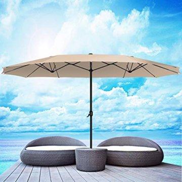 Kesser® Sonnenschirm Doppelsonnenschirm   Gartenschirm   Marktschirm   Terrassenschirm mit Handkurbel   Oval   Aluminium   UV-beständig   wasserabweisenden   Beige - 2