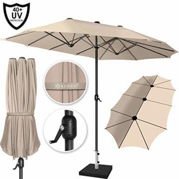 Kesser® Sonnenschirm Doppelsonnenschirm | Gartenschirm | Marktschirm | Terrassenschirm mit Handkurbel | Oval | Aluminium | UV-beständig | wasserabweisenden | Beige - 3