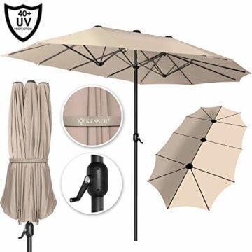 Kesser® Sonnenschirm Doppelsonnenschirm | Gartenschirm | Marktschirm | Terrassenschirm mit Handkurbel | Oval | Aluminium | UV-beständig | wasserabweisenden | Beige - 1