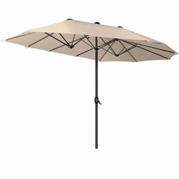 Kesser® Sonnenschirm Doppelsonnenschirm | Gartenschirm | Marktschirm | Terrassenschirm mit Handkurbel | Oval | Aluminium | UV-beständig | wasserabweisenden | Beige - 5