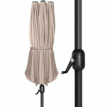 Kesser® Sonnenschirm Doppelsonnenschirm | Gartenschirm | Marktschirm | Terrassenschirm mit Handkurbel | Oval | Aluminium | UV-beständig | wasserabweisenden | Beige - 6