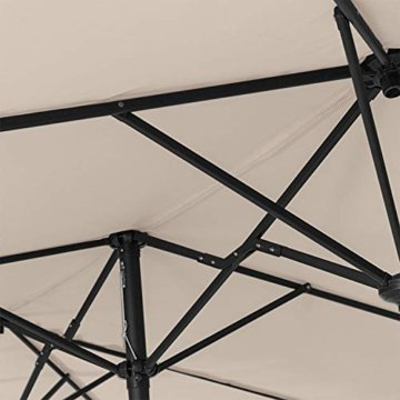 Kesser® Sonnenschirm Doppelsonnenschirm | Gartenschirm | Marktschirm | Terrassenschirm mit Handkurbel | Oval | Aluminium | UV-beständig | wasserabweisenden | Beige - 7