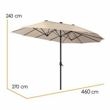 Kesser® Sonnenschirm Doppelsonnenschirm | Gartenschirm | Marktschirm | Terrassenschirm mit Handkurbel | Oval | Aluminium | UV-beständig | wasserabweisenden | Beige - 8