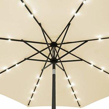 Kingsleeve Sonnenschirm Gartenschirm Kurbel I Solar I Alu I LED Beleuchtung I neigbar I Ø300cm I Creme - 3