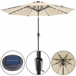 Kingsleeve Sonnenschirm Gartenschirm Kurbel I Solar I Alu I LED Beleuchtung I neigbar I Ø300cm I Creme - 1