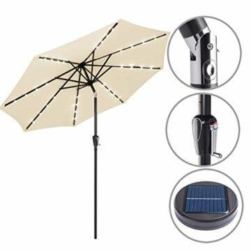 Kingsleeve Sonnenschirm Gartenschirm Kurbel I Solar I Alu I LED Beleuchtung I neigbar I Ø300cm I Creme - 5