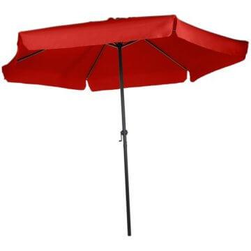 MIADOMODO Sonnenschirm in Ø 2,5m / 3m / 3,5m - in Farbwahl, Wasserabweisender Schirmbezug, mit Krempe und Kurbel, aus Stahlrohr - Marktschirm, Gartenschirm, Terrassenschirm, Ampelschirm (Ø 3 m, Rot) - 4