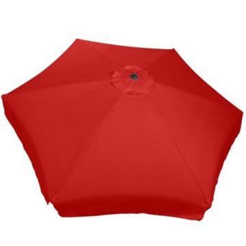 MIADOMODO Sonnenschirm in Ø 2,5m / 3m / 3,5m - in Farbwahl, Wasserabweisender Schirmbezug, mit Krempe und Kurbel, aus Stahlrohr - Marktschirm, Gartenschirm, Terrassenschirm, Ampelschirm (Ø 3 m, Rot) - 5