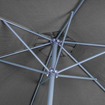 Nexos Sonnenschirm 3m Stahl-Gestell UV Schutz UPF 50+ Gartenschirm Marktschirm mit Kurbel Schirmstoff anthrazit wasserabweisend Höhe 230 cm - 2
