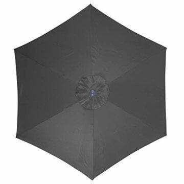 Nexos Sonnenschirm 3m Stahl-Gestell UV Schutz UPF 50+ Gartenschirm Marktschirm mit Kurbel Schirmstoff anthrazit wasserabweisend Höhe 230 cm - 4