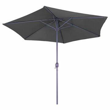 Nexos Sonnenschirm 3m Stahl-Gestell UV Schutz UPF 50+ Gartenschirm Marktschirm mit Kurbel Schirmstoff anthrazit wasserabweisend Höhe 230 cm - 1